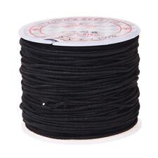 1 Rollo 24m Largo Negro redondo elastico rebordear hilo de cordon 1mm O8L6