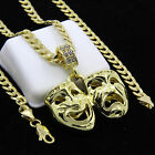 Mens Gold Plated Hip-Hop Laugh Now Cry Later Pendant 24
