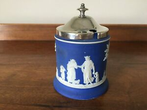 Antique Wedgwood Cobalt Blue Jasperware Preserve Pot with Silver Plated Top