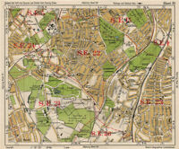 S East Dulwich Old map Camberwell Forest Hill etc 1896 London repro 11-SE