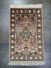 Amazing old antique decorative India Kashmir  silk rug 3.96x2.39 ft