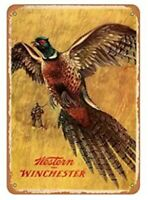 WINCHESTER TIN SIGN PHEASANT HUNTING SHELLS FIREARMS SHOTGUN SHELL 1.00 POSTER