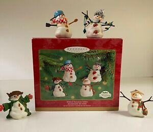 """Hallmark ~ 2001 ~ """"Mitford Snowman Jubilee"""" set of 4 ornaments ~ NEW  ~ MIB"""