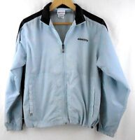Reebok Mens Running Windbreaker Jacket Size M Gray Blue Nylon Full Zip