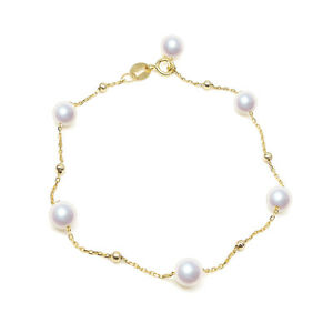 AAA White Real Akoya Sea Cultured Pearl Bracelet 18K Solid Yellow Gold 4.5-5.5mm