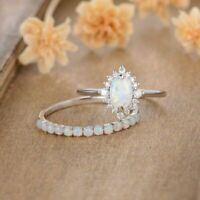 1.5CT Oval Cut Fire Opal Halo Diamond 14k White Gold Over Unique Bridal Ring Set