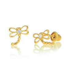 Children's 14k Yellow Gold Kids Baby CZ Dragon Fly Dragonfly Post Stud Earrings
