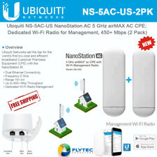 Ubiquiti NS-5AC-US NanoStation AC 5 GHz AC CPE; Wi-Fi Radio Management (2-Pack)