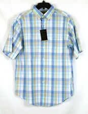 NWT Roundtree York Gold Label Short Sleeve Tan Blue Check Shirt Medium NEW