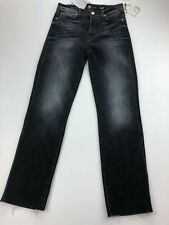 7 For All Mankind Womens Edie Jeans 25 Raw Hem Straight Leg Ankle Gray A54-14