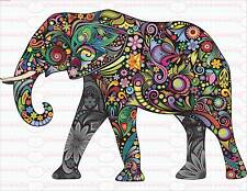 Bügelbild Blumen Elefant Afrika Sommer Chic  Shabby Vintage A4  NO. 1630