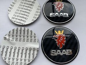 2 x BLACK AND GREY CARBON 62 MM OUTER  SAAB BONNET AND BOOT BADGE, STICKERS ONLY