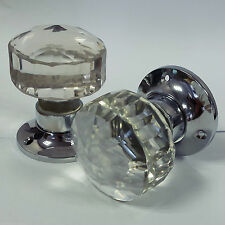 1 Pair - Solid Glass Faceted Mortice Door Knobs 57mm Chrome Plated