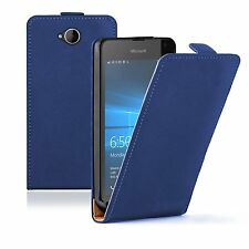 SLIM BLUE Leather Flip Case Cover Pouch For Microsoft Lumia 650 (+2 FILMS)