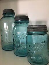 Lot Turquoise Blue Glass Ball Canning PINT MASON JARs