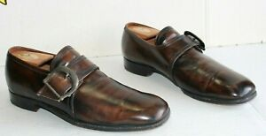 Vintage 1970's Florsheim Men's Brown Leather Buckle Shoes. Size 9 C USA Made.