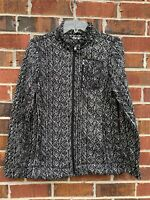 ANDREW MARC NY Fleece Lined Jacket Women's Size Small Black White Full Zip Coat