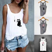 Fashion Women Summer Cat Print Casual Tank Tops Blouse Sleeveless O Neck T-Shirt
