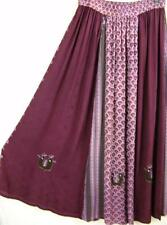 SK290~TIENDA HO~Burgundy & Pink~RAYON CIRCLE SKIRT~Indian~Embroidery~OS~M-1X?