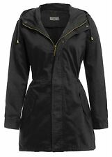 New Ladies Hooded Canvas MAC Parka Jackets Fish Tail Trench Coats 8-24