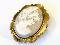 VINTAGE 2.5M Gold Plated WBS Carved Shell Cameo Brooch GIFT BOXED