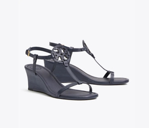 Tory Burch NEW Miller Navy Blue 60MM Wedge Leather Sandal MANY SIZES $268