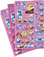 Despicable ME MINIONS!  Universal 3 Large Sheets Stickers Purple COLD Bored Coat