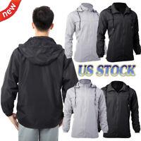 US Men's Hooded Waterproof Jacket Zip Up Raincoat Windbreaker Rain Long Sleeves
