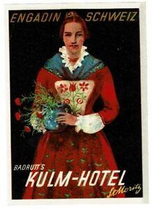 HOTEL KULM luggage DECO label (ST.MORITZ)