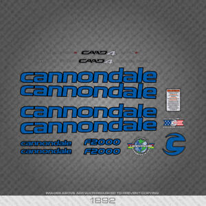 1892 Blue Cannondale Bicycle Stickers - Decals - Transfers