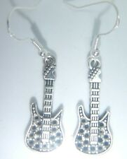 Tibetan Silver Electric Guitar Earrings On Sterling Silver Hooks FREE Gift Bag