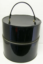 "Vintage Travel Carrying Case Black Vinyl Hat Box With Foam Head & Wig 13"" x 13"""