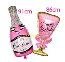 Giant Pink Champagne Bottle Wine Glass Foil Balloon Birthday Celebration