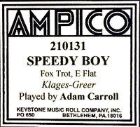 Ampico (NEW) Recut SPEEDY BOY Adam Carroll 210131 Reproducing Player Piano Roll
