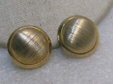 "Vintage Textured Button Stud Clip Earrings, 1"", 1950's/1960's, Gold Tone"