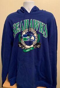 SEATTLE SEAHAWKS MEN'S MITCHELL & NESS SWEATSHIRT HOODIE BLUE 2XL