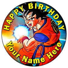 """DRAGON BALL Z - GOKU PARTY 7.5"""" PERSONALISED ROUND EDIBLE ICING CAKE TOPPER (4)"""