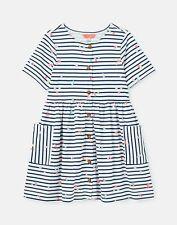 Joules Girls Liddie Button Through Smock Dress  - Navy Confetti