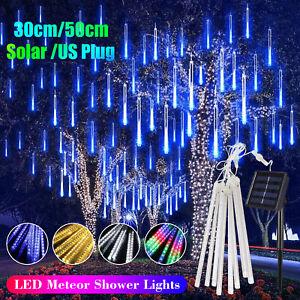 144 LED Solar Lights Meteor Shower Rain 8 Tube Tree Outdoor Light Xmas Decor USA