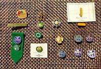 Girl Scouts Pins for Lapel, GS Sash Huge Lot +15 Items Vintage Pieces