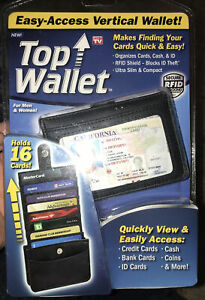 Top Wallet-Easy Access Vertical Black Wallet Adult Unisex - Holds 16 Cards