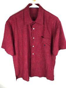 Ralph Lauren Pocket Dress Shirt Red w/ multi color Short Sleeve  Large Button Up