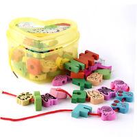Hot Wooden Lacing Beads Animals Blocks Heart-shape Box Threading Educational SA