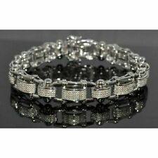 "7.00 Ct Round Cut Diamond Statement Men's 8"" Bracelet 14K White Gold Over"