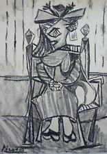 Rare & Unique original charcoal, drawing, signed Pablo Picasso, w COA, docs.