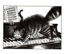 Cat Playing Piano Poof Fur Standing on End Kliban Cat Print Black White Vintage