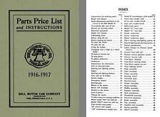Bell Motor Car 1916 & 1917 - Parts Price List and Instructions