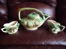 Vintage McCoy Teapot & Sugar/Cream Bowls Pine Cone Style. Nice Look!