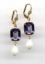 TANZANITE VIOLET BLUE LAVENDER cut-crystal PEARL TEARDROP Earrings 14K Gold gp