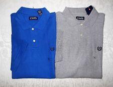 Lot 2 Mens Chaps Cotton Pique Polo Shirts Short Sleeve Grey Blue XL $80 NWT
